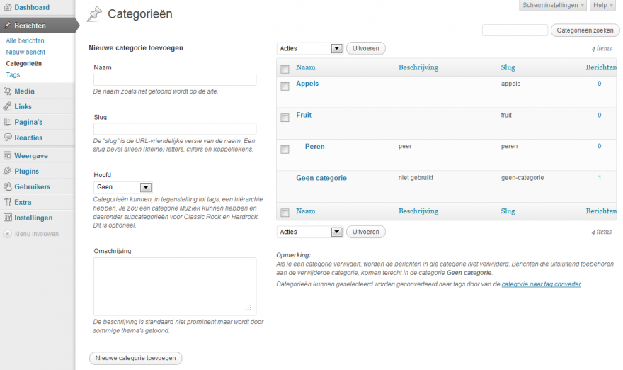 WordPress Categorieen (klik om te vergroten)