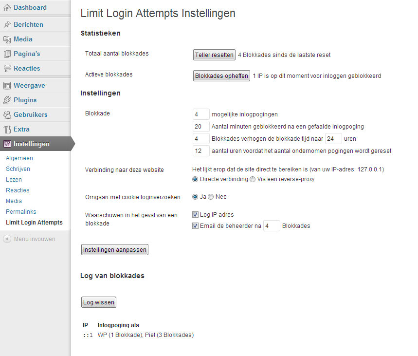 De Statistieken en Blokkadelog van Limit Login Attempts