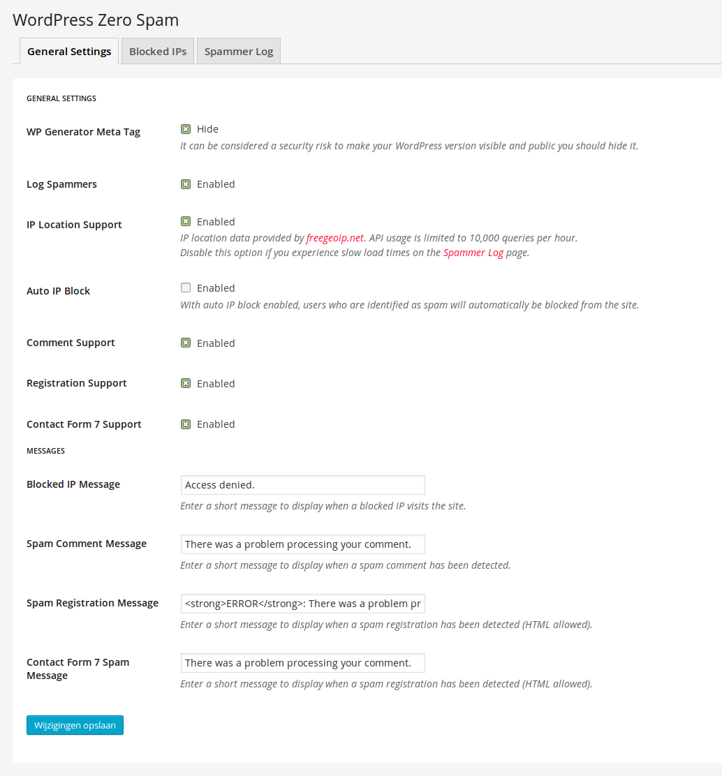 WordPress Zero Spam Settings Pagina