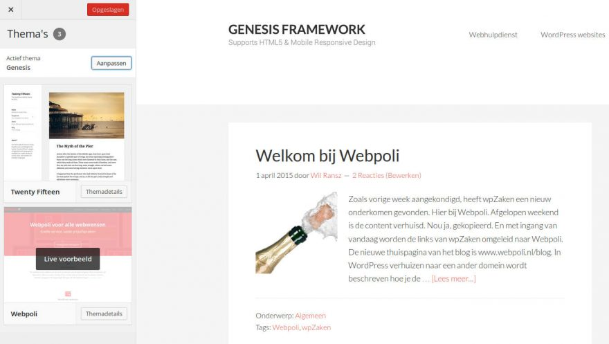 Live Voorbeeld Thema's in WordPress Customizer