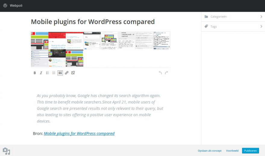 WordPress 4.2 Press this bookmarklet