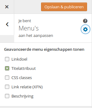 Menu eigenschappen in Customizer WordPress 4.3